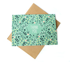 Mint Floral Thank You Card (Klinger Creative) Tags: flowers floral diy handmade mint card etsy greeting notecard