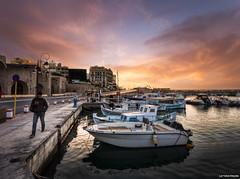 IMG_1948 (Lefteris Kriaris) Tags: sunset sea sky man port boats greece crete heraklion