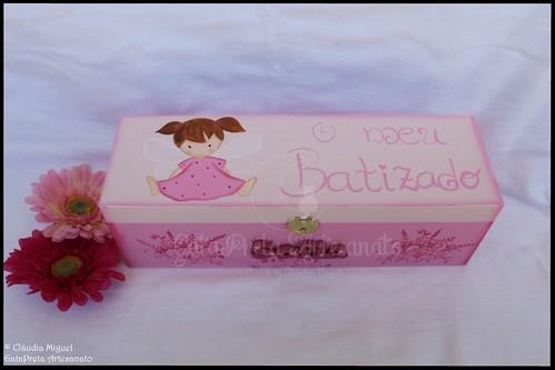 """Caixa para vela e toalha de batismo """"Baby Fairy"""""""