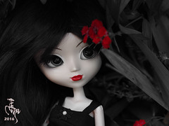 Red Black White (Malina (LaelP)) Tags: flowers red summer black flower cute sexy beautiful hair melissa wig mysterious groove pullip lovely obitsu