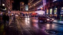 Kungsgatan by night (Dale Michelsohn) Tags: road christmas street leica city cars wet rain night dark town december sweden stockholm kungsgatan dlux4 dalemichelsohn