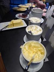 Various types of spreads (seikinsou) Tags: summer food breakfast spread restaurant hotel midsummer sweden margarine butter diningroom meal creamcheese umea scandic