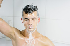 In the Shower (danielfoster437) Tags: conditioner handsomemale handsomeman intheshower male maletakingshower man manintheshower mantakingshower portrait selfportrait shampoo shower showering sprayingwater takingashower washing washingface washinghairshower youngmale youngman