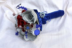 Red, White and Blue Leather Bouquet2 (TussyMussyBouquets) Tags: red leather vintage contemporary cream jewelry jewellery bouquet cobalt weddingbouquet silverflowers shebeads fabricbouquet broochbouquet artificialbouquet