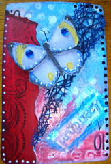 ATC /APC  Prophecy 090513 Not for trade Made for Lets swap ATC's group (ladychiara) Tags: atc collage butterfly mixedmedia apc prophecy cutandpaste