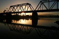 IMG_0023 (Tim Cattera Photo) Tags: california trestle bridge sunset santacruz reflection water train river evening palmtrees boardwalk lostboys