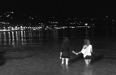 Living a life that I can't leave behind (_EdG_) Tags: girls sea people blackandwhite bw night seaside nightshot sicily sicilia cefal
