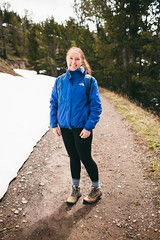 Anya on the trail (Michael Holst Photography) Tags: park light mountain cute nature girl canon outdoors michael natural hiking roadtrip hike redhead trail national mk2 5d yellowstone fitness fit holst 35l f14l michaelholstphotographycom