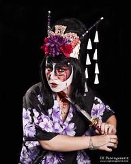 kabuki killer 07 (CE Photogenetix) Tags: red portrait woman black art halloween face japan female dark hair studio japanese costume blood paint suicide makeup evil bighair spooky killer geisha kabuki sword horror katana splatter select canon40d christinaedwards