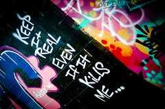 Keep It Real (Off The Beaten Path Photography) Tags: pink blue red orange white black yellow wall real graffiti paint purple painted tag it keep tagging