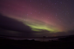 Northern Lights Behind The Clouds (James Simison) Tags: longexposure winter sky green night stars lights scotland orkney aurora northern isles magnetic magnetism auroraborealis startrails canon7d