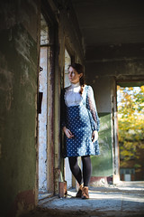 Grete (Rait_Tuulas) Tags: autumn portrait woman girl beauty vintage tallinn dress young naturallight oldhouse raittuulas