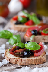 Italian crostini (Oxana Denezhkina) Tags: food green vegetables closeup tomato bread table lunch pepper cuisine healthy italian mediterranean view top traditional tomatoes olive tasty vegetable sandwich fresh gourmet delicious snack meal vegetarian oil garlic basil appetizer grilled herb bruschetta toasted crostini canape antipasto