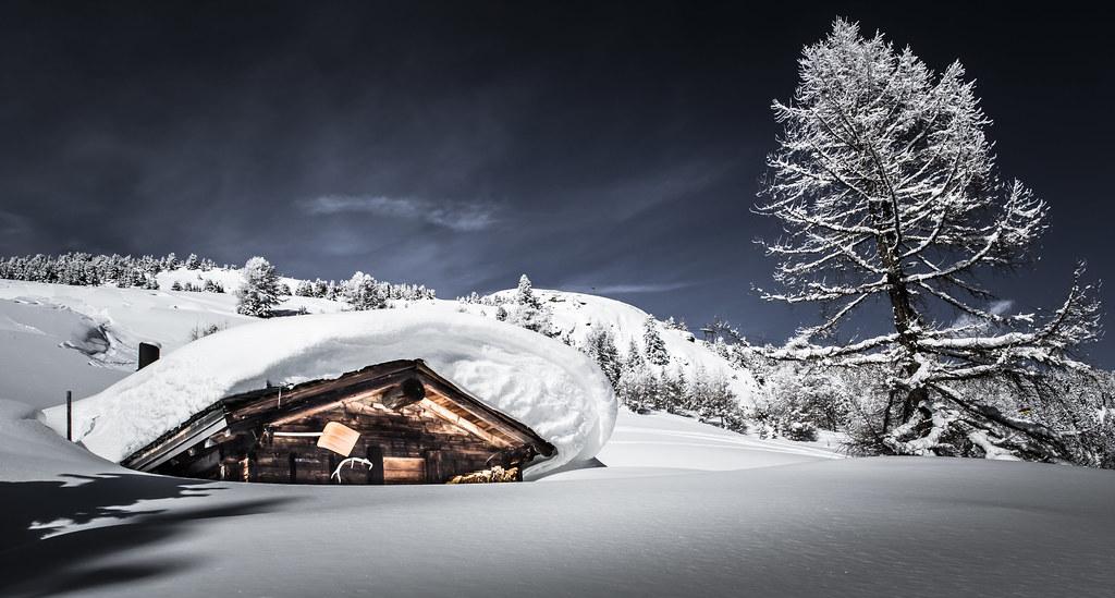 Switzerland Snowy Swiss Mountain Cabin Frederic Huber
