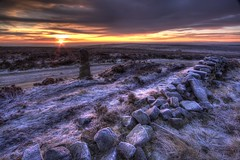 Houndkirk Sunrise (Twiggy's Photography) Tags: winter house cold stone wall clouds sunrise buxton frost track day cloudy sheffield dry fox moors hdr milestone bakewell houndkirk