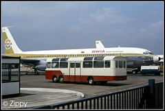 Boeings and Bedfords (Zippy's Revenge) Tags: london bedford coach airport bea heathrow marshall val airline terminal3 boeing707 airside britisheuropeanairways bwia rar268d
