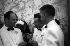 083659 02 (ndpa / s. lundeen, archivist) Tags: wallpaper people blackandwhite bw man men film glass monochrome 35mm point blackwhite finger champagne nick bowtie august tuxedo 1950s weddingparty groomsmen pointing tux blacktie tuxedos weddingreception 1959 unidentified formalattire dewolf bowties whitetuxedo nickdewolf whitetuxedos photographbynickdewolf locationunidentified