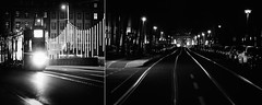 Journey to the End of Night (Novowyr) Tags: voyage street city travel light blackandwhite reflection berlin night dark licht diptych pattern nacht sony tracks basel journey unknown streetcar schwarzweiss nuit tramway muster gleise reise routine dunkelheit schienen carlzeiss zwang journeytotheendofnight schimmern strasenbahn sonnart18135 reiseansendedernacht slta99v dasunbekannte