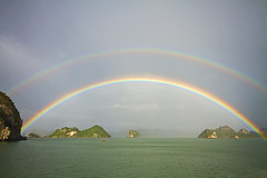 Luck (Matt Champlin) Tags: life morning travel sunrise islands amazing rainbow vietnam exotic onceinalifetime karst halongbay 2011
