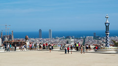 Parc Guell, Barcelona (raphael.chekroun) Tags: barcelona park city travel sunshine familia skyline architecture spain cityscape pentax modernism gaudi parcguell sagrada catalan barcelone overview