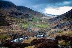 Closing In! (dazzbo1) Tags: view valley pass winding river cloud mist rain snowdonia wales water storm rocks atmospheric weather