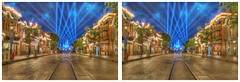 Main Street - Final Exit (sleightman 3D) Tags: california blue sky usa castle beautiful night stars outdoors stereoscopic stereogram 3d crosseye mainstreet colorful disneyland disney stereo stereoview depth hdr allrightsreserved hdri spotlights stereoscope crossview 3dphotography hyperstereo sleightman copyrightcarlwilson