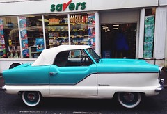 It's good to save ! (jamssy) Tags: classic car austin turquoise convertible retro collectible savers bmc abergavenny nashmetropolitan
