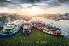 From Babu Bazar Bridge, Sadarghat, Dhaka (abudarda) Tags: bridge panorama cloud water river landscape evening boat photo cityscape stitch fujifilm dhaka launch steamer bangladesh bazar babu sadarghat afternoonlight riverscape 14mm xt10 explorebangladesh
