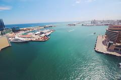 Barcelona Views (rita.wang27) Tags: ocean barcelona water car spain view outdoor cable barceloneta mediteranean