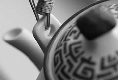 Teatime (Explored) (lclower19) Tags: bw white black detail monochrome closeup bokeh chinese teapot explored hmbt