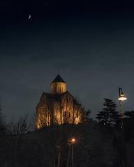/ A church in Tbilisi, Georgia (dmitriy.shasherin) Tags: sky moon church georgia stars outdoor dusk