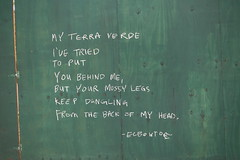 Elbow Toe | Street Poetry | My Terra Verde / I've Tried / To Put / You Behind Me / But Your Mossy Legs / Keep Dangling / From The Back of My Head | 15th St & 4th Ave construction site | Park Slope | Brooklyn | NYC | 2016 (536) Tags: nyc newyorkcity streetart art brooklyn poetry parkslope elbowtoe bk 11215 streetpoetry