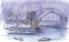 Smoke on the Water - Sydney Harbour 1 (panda1.grafix) Tags: seascape sketch sydneyharbour sydneyoperahouse sydneyharbourbridge pencilinkwash
