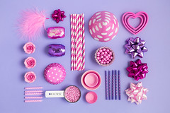 Pink and purple collection of objects for a birthday party (tigercop2k3) Tags: birthday pink party candles purple stripes objects things birthdayparty fromabove collection celebration spots sprinkles spotty partyhat stripey items overhead straws striped cookiecutters cakedecorations birthdaycandles candysprinkles overheadview curlingribbon purplebackground drinkingstraws giftbows sugarroses cupcakecases