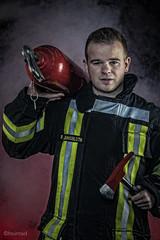 Firefighter (daniel_willems) Tags: fog photoshop canon fire raw flash fireman photostudio firefighter redlight photoart softbox photoshooting eos700d
