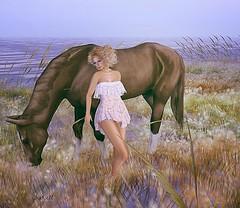 Maria.. (zaziaa resident) Tags: horse rose dress maria sim physique slink lostdream fitmesh lesfeesendormies