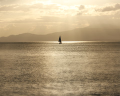 golden sea (lightscreative) Tags: gold golden sea ocean sail sailing sailboat sunset mountains sky clouds sunlight vancouver bc canada