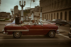 (Redblueen) Tags: city wedding red car cuba fast convertible cadillac celebration habana velocity