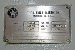 Martin 4-0-4 (N259S) Manufacturer's Plaque (dlberek) Tags: cabin interior inside martin404 propliner preservedaircraft n259s glennlmartinmarylandaviationmuseum