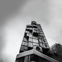 Waiting for godzilla ! (Demipoulpe) Tags: japan ginza metabolism architetcure capsul nagakin tower archilover architeture brutalism concrete tokyo japon