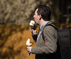 What's better than one ice cream? (cuppyuppycake) Tags: street people ice dessert photography yummy cone outdoor cream lick
