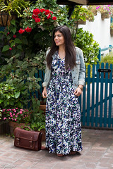 Floral Maxi Dress, Denim Jacket, brown sandals-2.jpg (LyddieGal) Tags: california ona bananarepublic blue camerabag denim fashion floral gap gorjana maxi outfit pineapple spring style trask travel vacation wardrobe weekendstyle