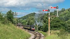 4MT Departure (4486Merlin) Tags: england europe unitedkingdom transport steam signals railways westyorkshire gbr oakworth keighleyworthvalleyrailway heritagerailways 75078 exbr brstd4mt460 vintagetrainevent