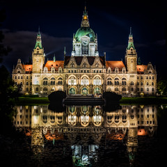 Reflections on Hanover (MyWorldThroughMyLens) Tags: city longexposure light reflection building water architecture night canon germany de eos town hall gothic hannover calm ghostly rathaus 6d niedersachsen