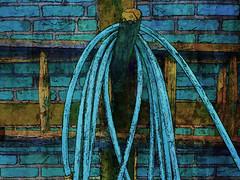 the garden hose III (j.p.yef) Tags: blue wall germany hamburg digitalart ladder gardenhose yef volksdorf museumsdorf peterfey jpyef