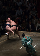 Two sumo wrestlers fighting at the ryogoku kokugikan arena, Kanto region, Tokyo, Japan (Eric Lafforgue) Tags: people male men sport japan vertical asian japanese tokyo big fight referee asia fighter power martial wrestling fat traditional champion culture traditions lifestyle competition clash ring east indoors tournament ritual leisure sumo inside strength fullframe athlete adults wrestlers adultsonly cultural obese overweight ryogoku 3people competitors kantoregion threepeople colourpicture 2029years japan161104