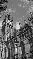 Manchester Town Hall, Albert Square (Gidzy) Tags: summer england blackandwhite bw english history clock tourism monochrome rain architecture clouds square manchester grey cloudy library sony albert tourist clocktower townhall british neogothic showers touristattraction 340 albertsquare a77 engalnd alfredwaterhouse gradeonelisted twentytofour