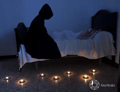 Sciophobia. (Lighthunter.) Tags: light girl myself fire bed candle shadows darkness sleep fear nightmare demons sciophobia esquiofobia phobiaofshadows