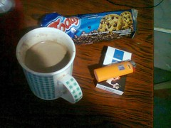 Breakfast (SevereTireDamage89) Tags: coffee cookies azul cigarettes derby suave cigarrillos