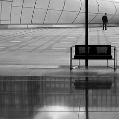 Urban Chronicles  ~  The Bench   ~  Paris ~ MjYj (MjYj) Tags: world city blue light sunset urban woman white black paris texture love beauty contrast dark soleil pretty noir time bleu amour eden temps reflets ville homme umbrela encounters img9176 mjyj mjyj